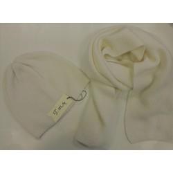 Berretto e sciarpa Punto grana di riso - 100%Cashmere