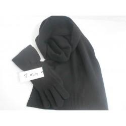 Sciarpa e Guanto color Nero - 100% Pura lana