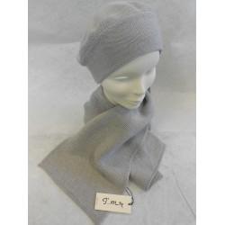 Berretto e Sciarpa color grigio chiaro - 100% Pura lana