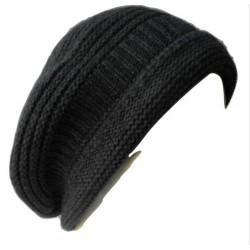 Basco in maglia punto links con costina e bordo ripiegato - 100% Pura Lana