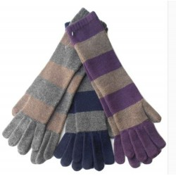 Guanto in maglia rasata a righe e polso lungo - 100% Puro Cashmere