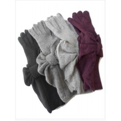 Guanto in maglia rasata e polso a costina con applicazione di prezioso fiocco a ventaglio