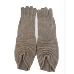Guanto in maglia raata con piccole pieghe al polso che creano motivo - 100% Pura lana