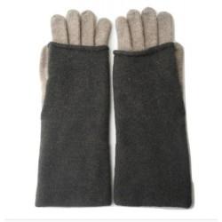 Guanto in maglia rasata due colori con polso a manicotto - 100% Pura Lana