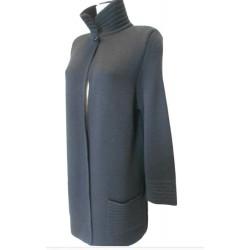 Cappotto in maglia rasata con tasche polsi e collo in punto ottoman - 100% Pura Lana