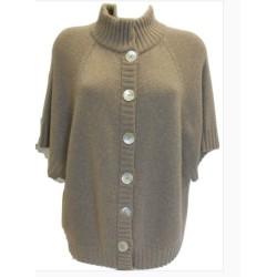 Giacchino in maglia rasata calata con collo e bordi a coste in calda lana