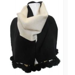Sciarpa in maglia punto links due colori beige e nero con pon pon - 100% Pura lana