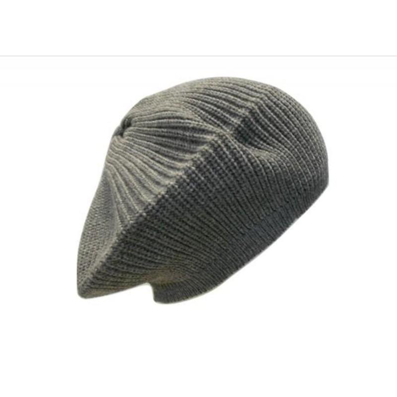 Basco in maglia punto pannocchia con bottone ricoperto in lana - 100% Pura  Lana ... a91efebf7253