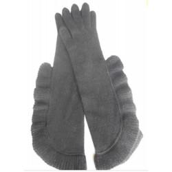 Guanto in maglia rasata con frappa a costina lungo il polso - 100% Cashmere