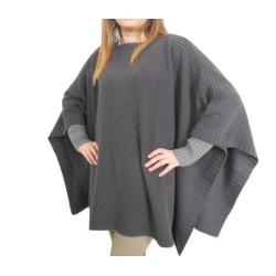 Mantella in maglia rasata con bordi e polsi a coste - due colori - misto cashmere