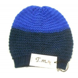 Berretta effetto tricot due colori - Lana Mohair