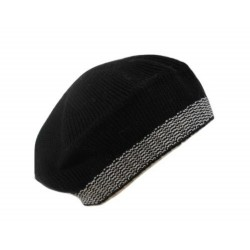 Basco bordo bianco nero - 100% Pura lana